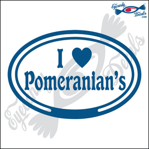 "EURO WITH I LOVE POMERANIANS  5"" DECAL"