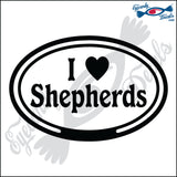 "EURO WITH I LOVE SHEPHERDS  5"" DECAL"