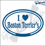 "EURO WITH I LOVE BOSTON TERRIER  5"" DECAL"
