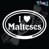 "EURO WITH I LOVE MALTESES  5"" DECAL"
