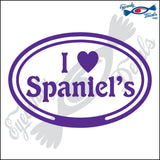 "EURO WITH I LOVE SPANIELS  5"" DECAL"