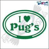 "EURO WITH I LOVE PUGS  5"" DECAL"