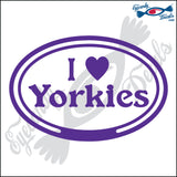 "EURO WITH I LOVE YORKIES  5"" DECAL"
