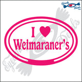 "EURO WITH I LOVE WEIMARANERS  5"" DECAL"