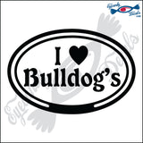 "EURO WITH I LOVE BULLDOGS  5"" DECAL"