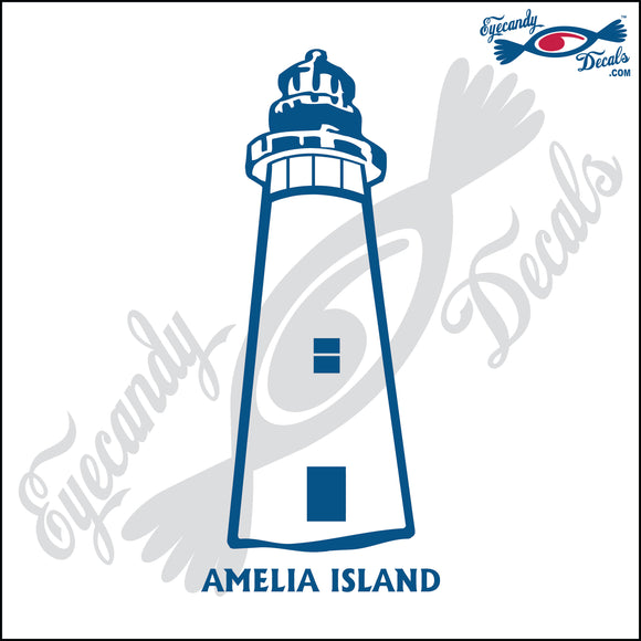 AMELIA ISLAND GEORGIA with NAME LIGHTHOUSE 6 INCH  DECAL