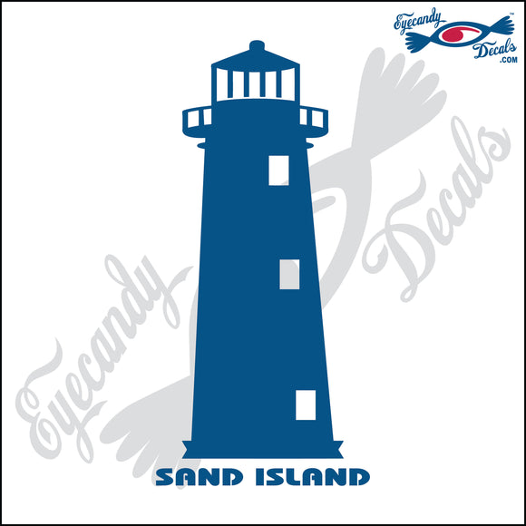 SAND ISLAND ALABAMA with NAME LIGHTHOUSE 6 INCH  DECAL