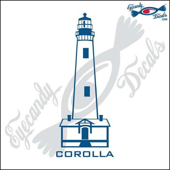 COROLLA NORTH CAROLINA with NAME LIGHTHOUSE 6 INCH  DECAL