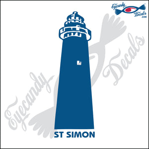 ST. SIMON NORTH CAROLINA LIGHTHOUSE with NAME 6 INCH  DECAL