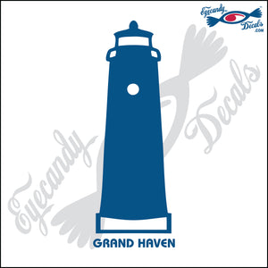 GRAND HAVEN MICHIGAN with NAME LIGHTHOUSE 6 INCH  DECAL