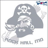 PIRATE HEAD with ROCKHALL MARYLAND 6 INCH  DECAL