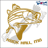 STRIPER FISH with ROCKHALL MARYLAND 6 INCH  DECAL