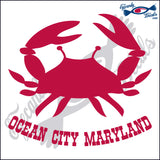 CRAB with OCEAN CITY MARYLAND 6 INCH  DECAL