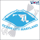 CRAB with STATE and OCEAN CITY MARYLAND 6 INCH  DECAL