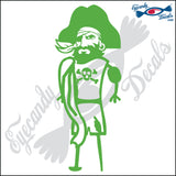 "PIRATE WITH PEGLEG 6"" DECAL"