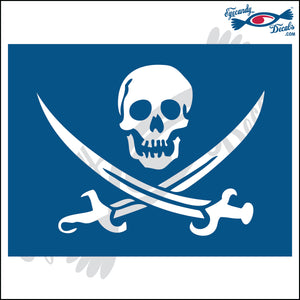 "JOLLY ROGER IN RECTANGLE 6"" DECAL"