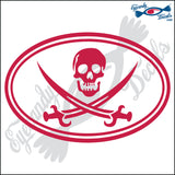 "JOLLY ROGER IN OVAL 6"" DECAL"