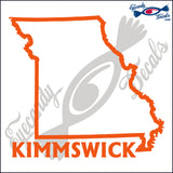 MISSOURI STATE OUTLINE with KIMMSWICK 6 INCH  DECAL