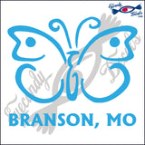 BUTTERFLY with BRANSON MISSOURI 6 INCH  DECAL