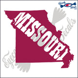 "MISSOURI STATE SHAPE WITH MISSOURI TEXT  6""  DECAL"