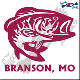 BASS with BRANSON MISSOURI 6 INCH  DECAL