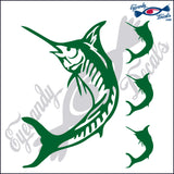 "MARLIN FISH  5""  DECAL plus 3 small"