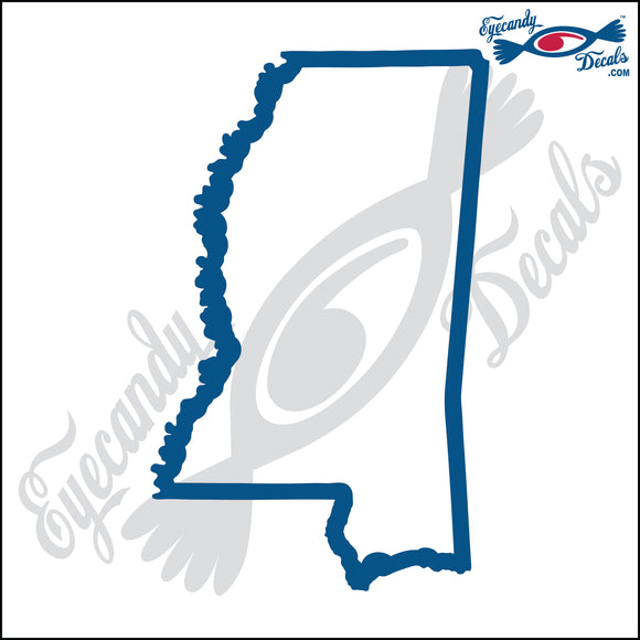 MISSISSIPPI STATE OUTLINE 6 INCH  DECAL