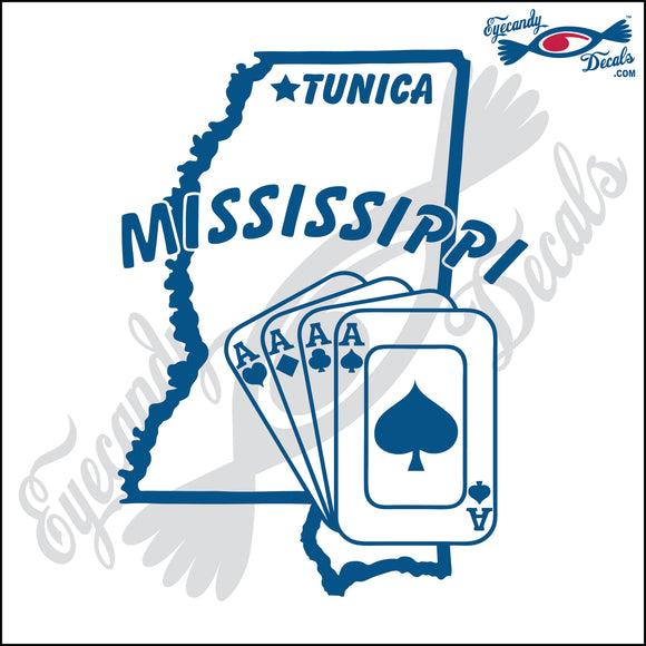MISSISSIPPI STATE OUTLINE WITH TUNICA AND 4 ACES  6