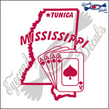"MISSISSIPPI STATE OUTLINE WITH TUNICA AND 4 ACES  6""  DECAL"