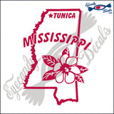 MISSISSIPPI STATE OUTLINE with FLOWERS and TUNICA 6 INCH  DECAL