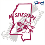 MISSISSIPPI STATE OUTLINE with FLOWER 6 INCH  DECAL