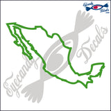 MEXICO OUTLINE 6 INCH  DECAL LIME
