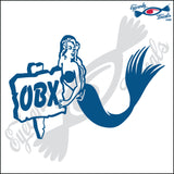 MERMAID HOLDING SIGN with OBX NORTH CAROLINA 6 INCH  DECAL
