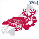 NORTH CAROLINA with DEER and BASS 6 INCH  DECAL