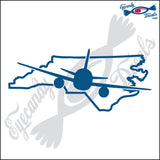 NORTH CAROLINA with AIRPLANE 6 INCH  DECAL