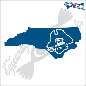 NORTH CAROLINA SHAPE with PIRATE HEAD 6 INCH  DECAL