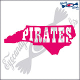 NORTH CAROLINA SHAPE with PIRATES 6 INCH  DECAL