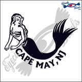 MERMAID with CAPE MAY NEW JERSEY 6 INCH  DECAL