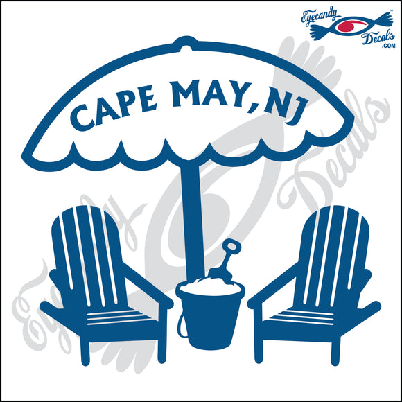 UMBRELLA AND SAND PAIL with CAPE MAY NEW JERSEY 6 INCH  DECAL