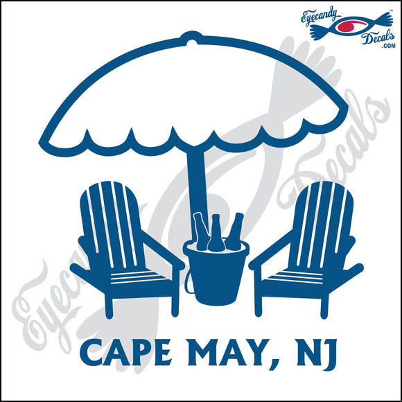 UMBRELLA and BEER PAIL with CAPE MAY NEW JERSEY 6 INCH  DECAL