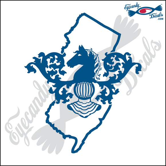 NEW JERSEY STATE OUTLINE WITH STATE SYMBOL 6 INCH  DECAL