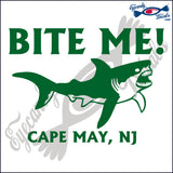BITE ME SHARK with CAPE MAY NEW JERSEY 6 INCH  DECAL