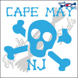 SKULL AND CROSSBONES with CAPE MAY NEW JERSEY 6 INCH  DECAL