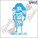 BEACH PIRATE with CAPE MAY NEW JERSEY 6 INCH  DECAL