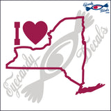 I HEART NEW YORK STATE OUTLINE 6 INCH  DECAL