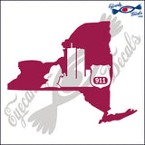 NEW YORK SHAPE with FD and PD 6 INCH  DECAL