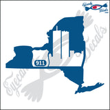 NEW YORK SHAPE with POLICE BADGE 6 INCH  DECAL