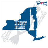 NEW YORK SHAPE with LIBERTY ISLAND 6 INCH  DECAL