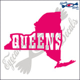 NEW YORK SHAPE with QUEENS 6 INCH  DECAL