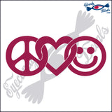 "PEACE LOVE AND HAPPINESS  6""  DECAL"